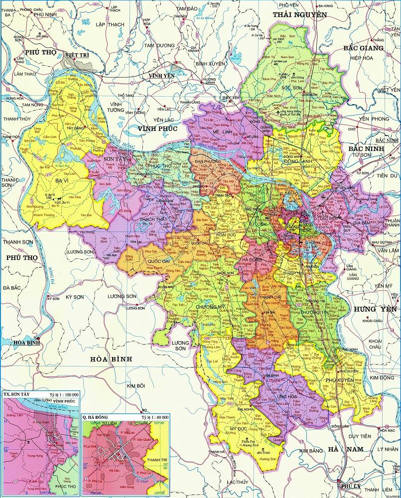Bản đồ hanh chinh Hà Nôi