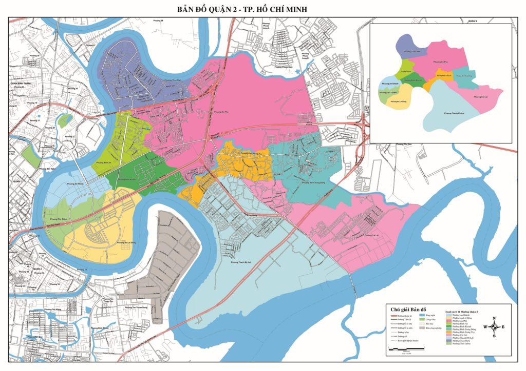bản đồ hành chính giao thông quận 2 Hồ chí minh