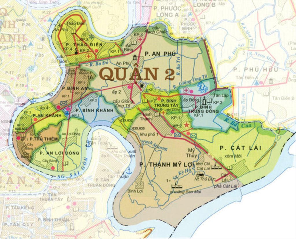 bản đồ đường xá quận 2 hồ chí minh