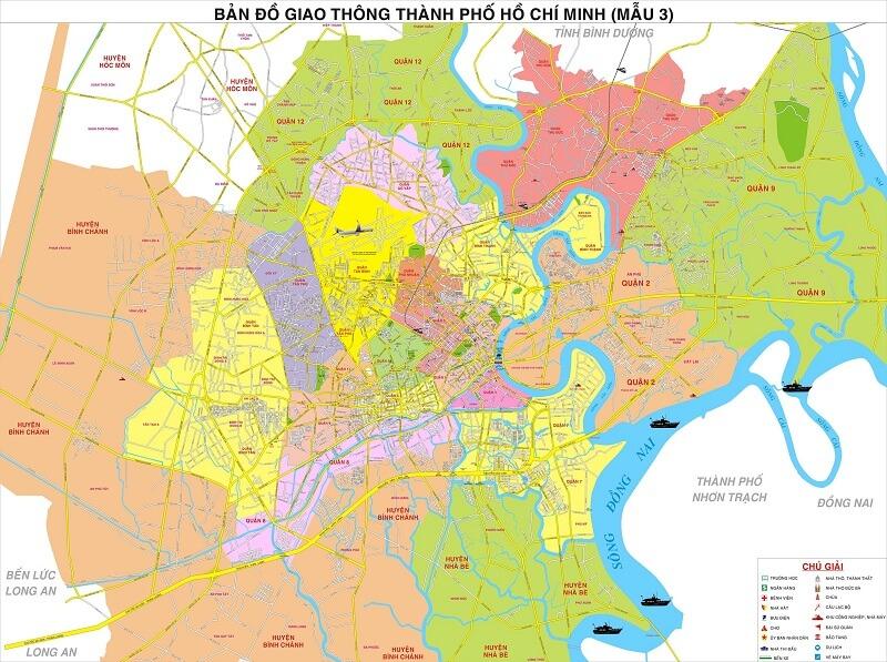 Hình ảnh bản đồ các quận sài gòn